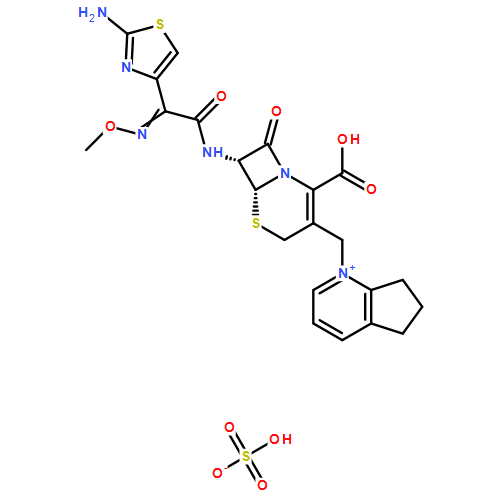 硫酸头孢匹罗(cas:99-0-5) 结构式图片