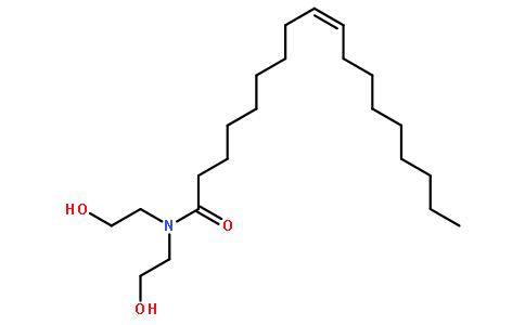 (z)-n,n-二(2-羟基乙基)-9-十八烯酸酰胺(cas:93-83-4) 结构式图片
