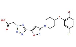 2H-四唑乙酸,5-[3-[4-(2-溴-5-氟苯氧基)-1-哌啶基]-5-异恶唑](CAS:1030612-90-8)结构式图片