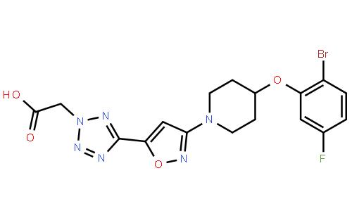 2H-四唑乙酸,5-[3-[4-(2-溴-5-氟苯氧基)-1-哌啶基]-5-异恶唑]结构式