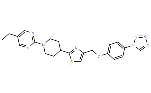 5-乙基-2-[4-[4-[[[4-(1H-四氮唑-1-基)苯基]氧基]甲基]噻唑-2-基]哌啶-1-基]嘧啶结构式