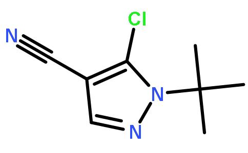 1 -叔丁基- 5 -氯-1h -吡唑- 4 -腈(cas:1050619-87-8) 结构式图片
