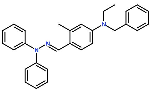 2-甲基-4-(n-乙基-n-苄基)氨基苯甲醛-1,1-二苯腙结构式