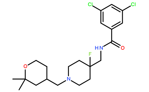 (S)-3,5-Dichloro-N-((1-((2,2-dimethyltetrahydro-2H-pyran-4-yl)methyl)-4-fluoropiperidin-4-yl)methyl)benzamide