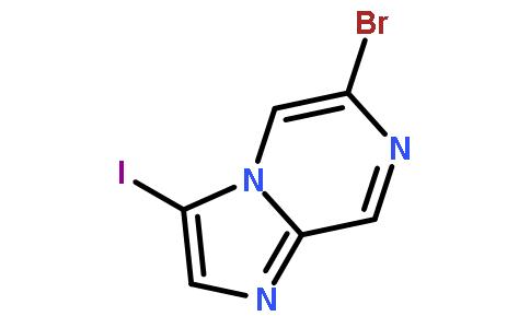 6-溴-3-碘咪唑并[1,2-A]吡嗪结构式