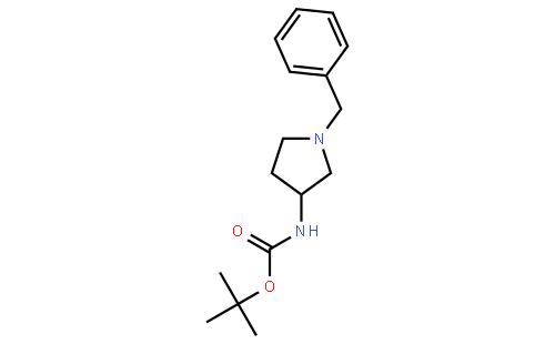 (S)-(-)-1-苄基-3-(叔丁氧羰基氨基)吡咯烷结构式