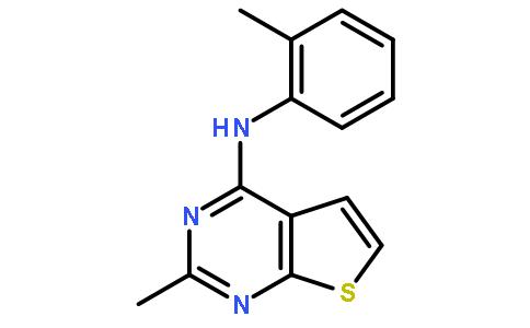 2 -甲基-n-(2 -甲基苯基)噻吩并〔2,3-d]嘧啶-4 -胺结构式