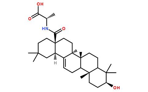 n-[(3beta)-3-羟基-28-氧代齐墩果-12-烯-28-基]-l-丙氨酸结构式