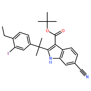 2-Methyl-2-propanyl 6-cyano-2-[2-(4-ethyl-3-iodophenyl)-2-propany l]-1H-indole-3-carboxylate